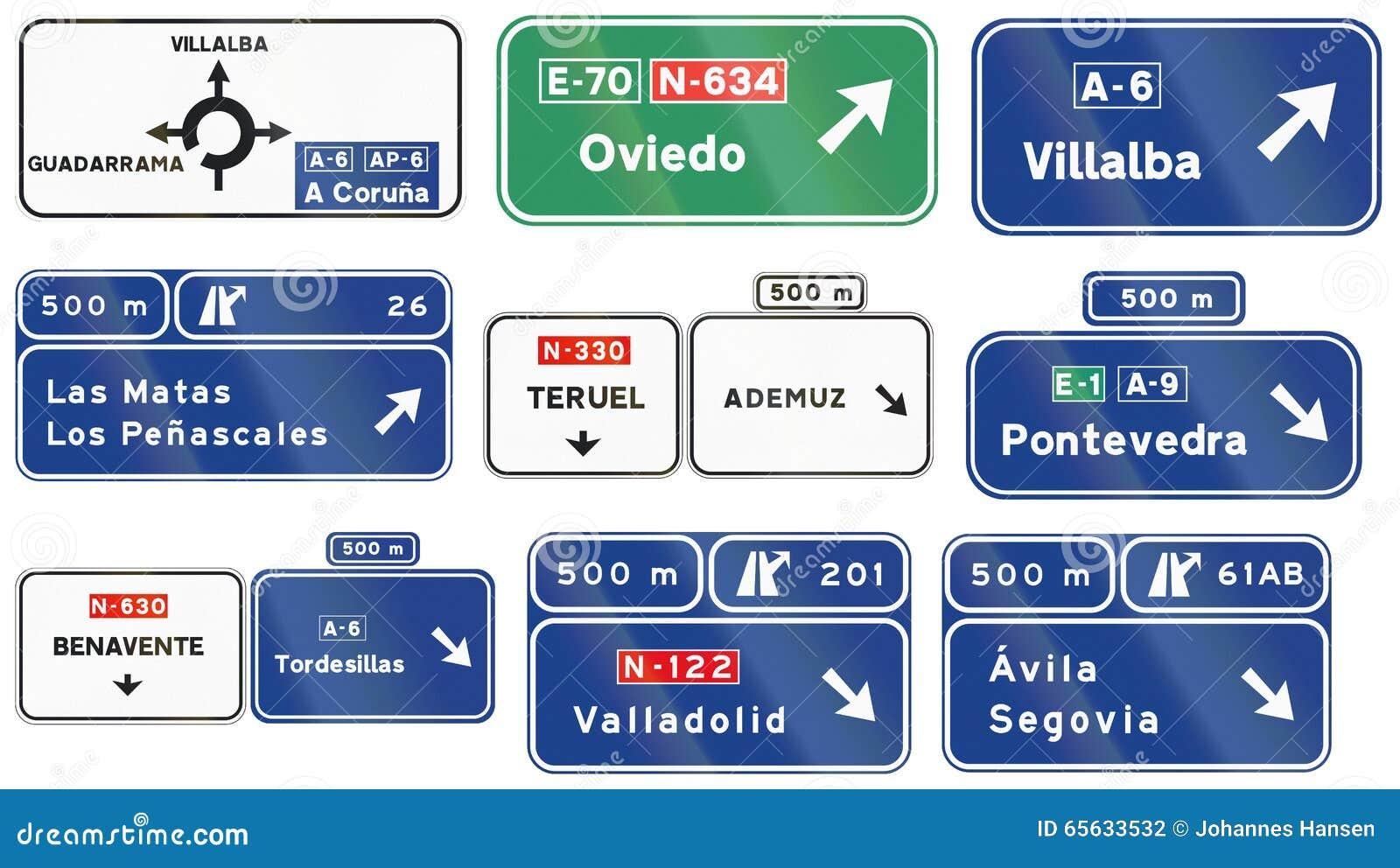 Panneaux routiers utilisés en Espagne