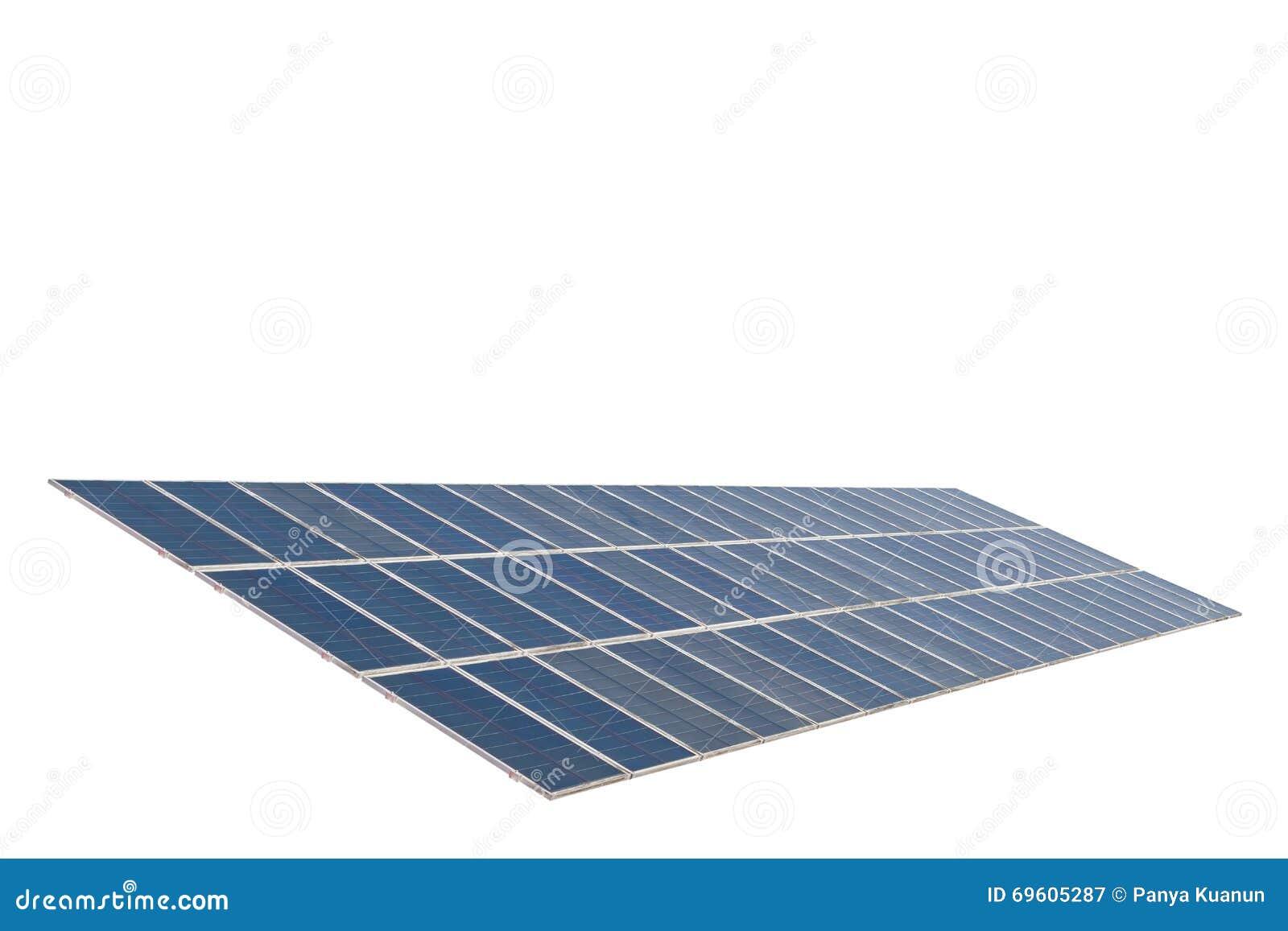 Panneaux solaires d isolement sur le fond blanc Avec le chemin de coupure