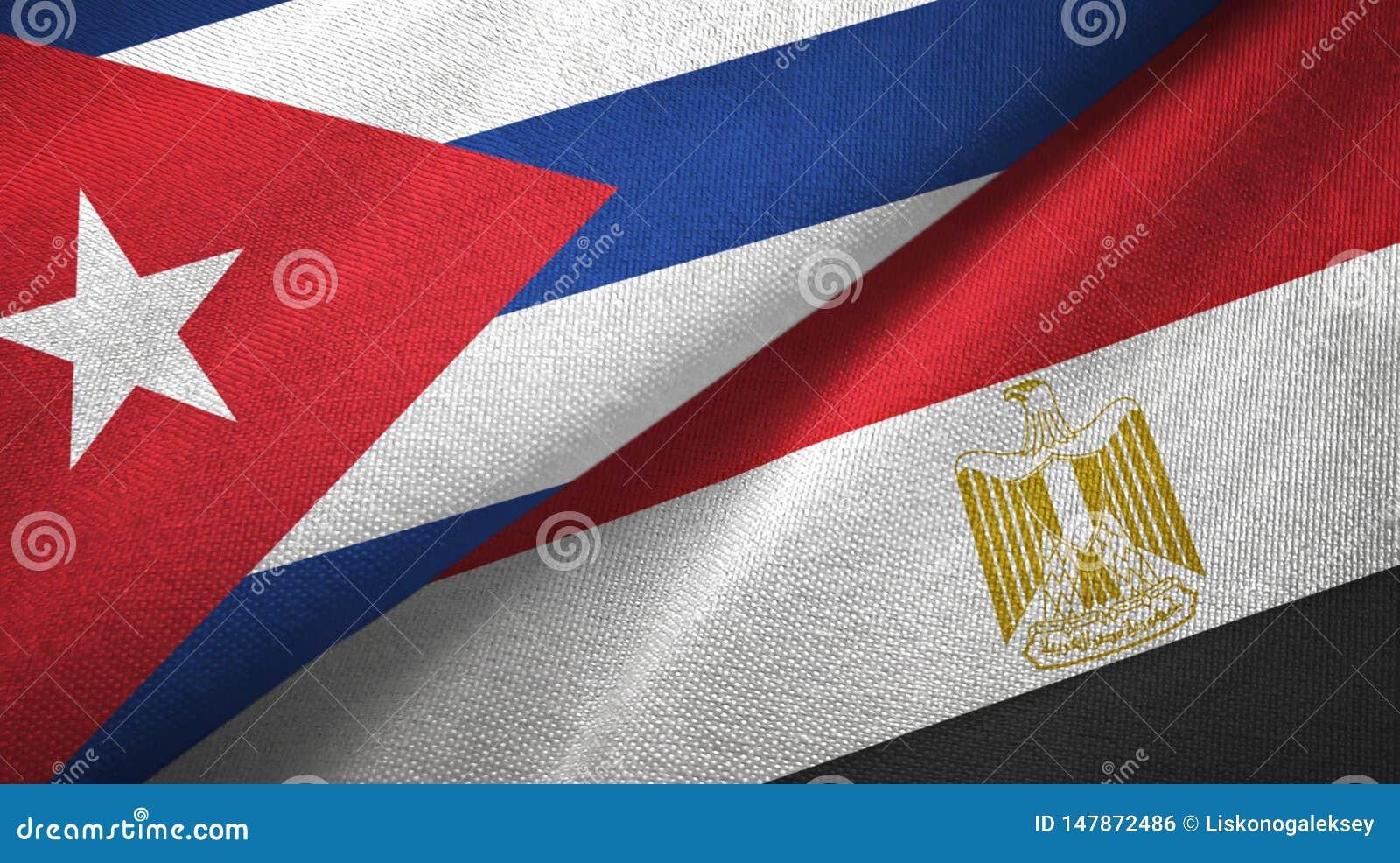 Panno del tessuto delle bandiere dell Egitto e di Cuba due