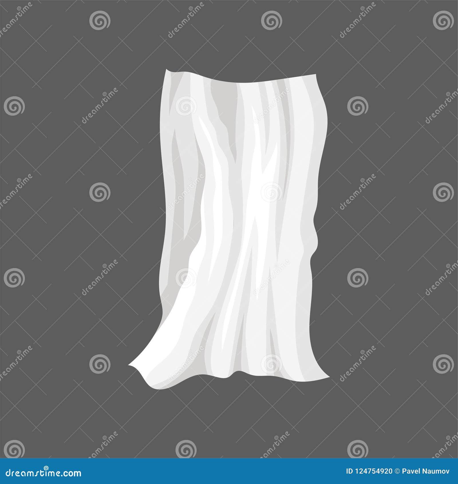 Pano branco do cetim Drapeje com dobras onduladas Folha de cama de seda Elemento liso do vetor para anunciar o cartaz ou a bandei