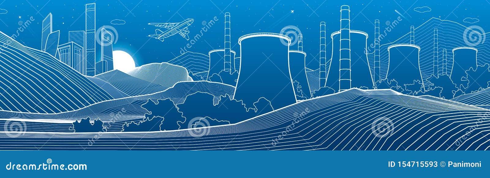 Panorama- översiktsbranschillustration Nattstadsplats Kraftverk i berg Vita linjer p? bl? bakgrund f?r designeps f?r 10 bakgrund