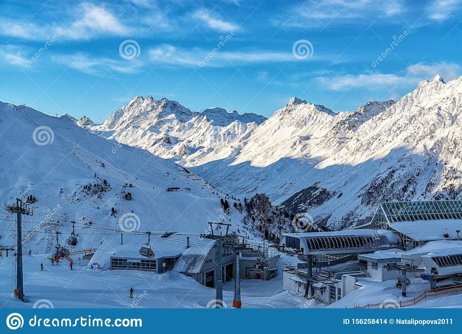 Panorama of the Alpine mountains in the evening at the ski resort of Ischgl, Austria