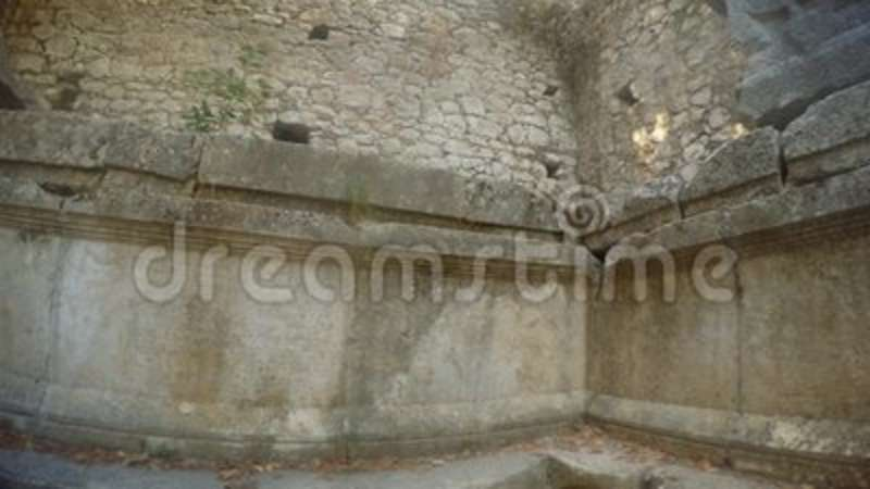panorama ancient wall with pre christian inscriptions and