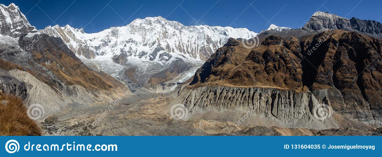 Panorama of Annapurna 1 and its glacier with clear blue sky, Himalayas