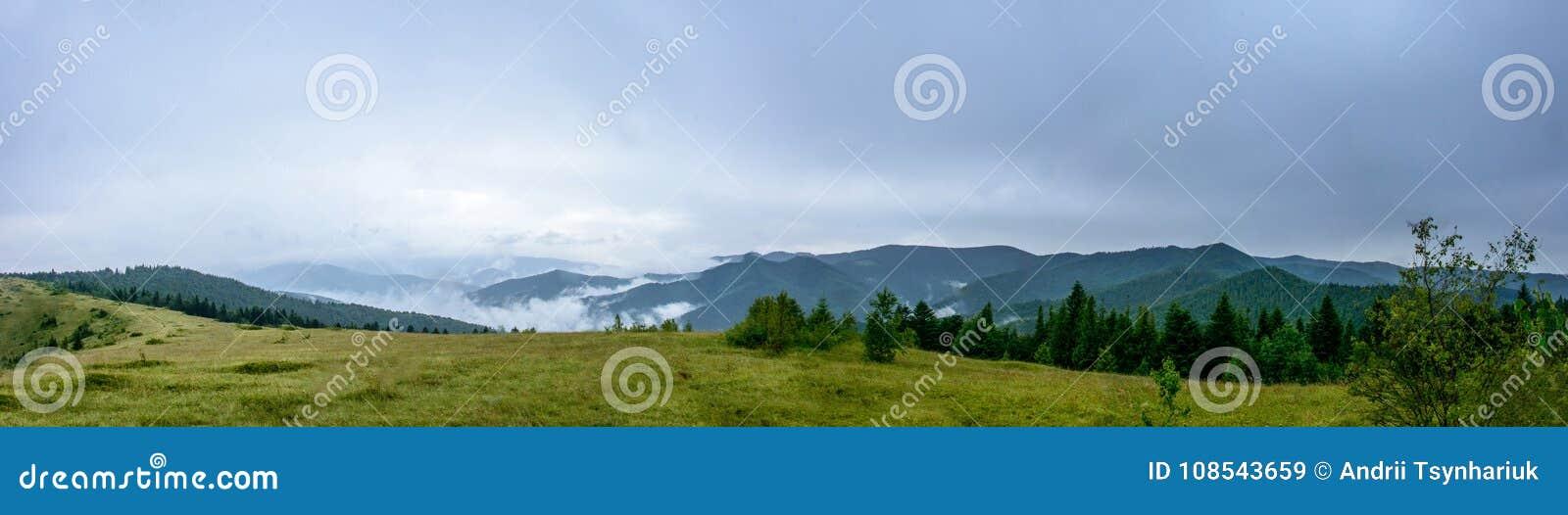 Panorama asombroso en la montaña Yavorinka en los Cárpatos durante la lluvia