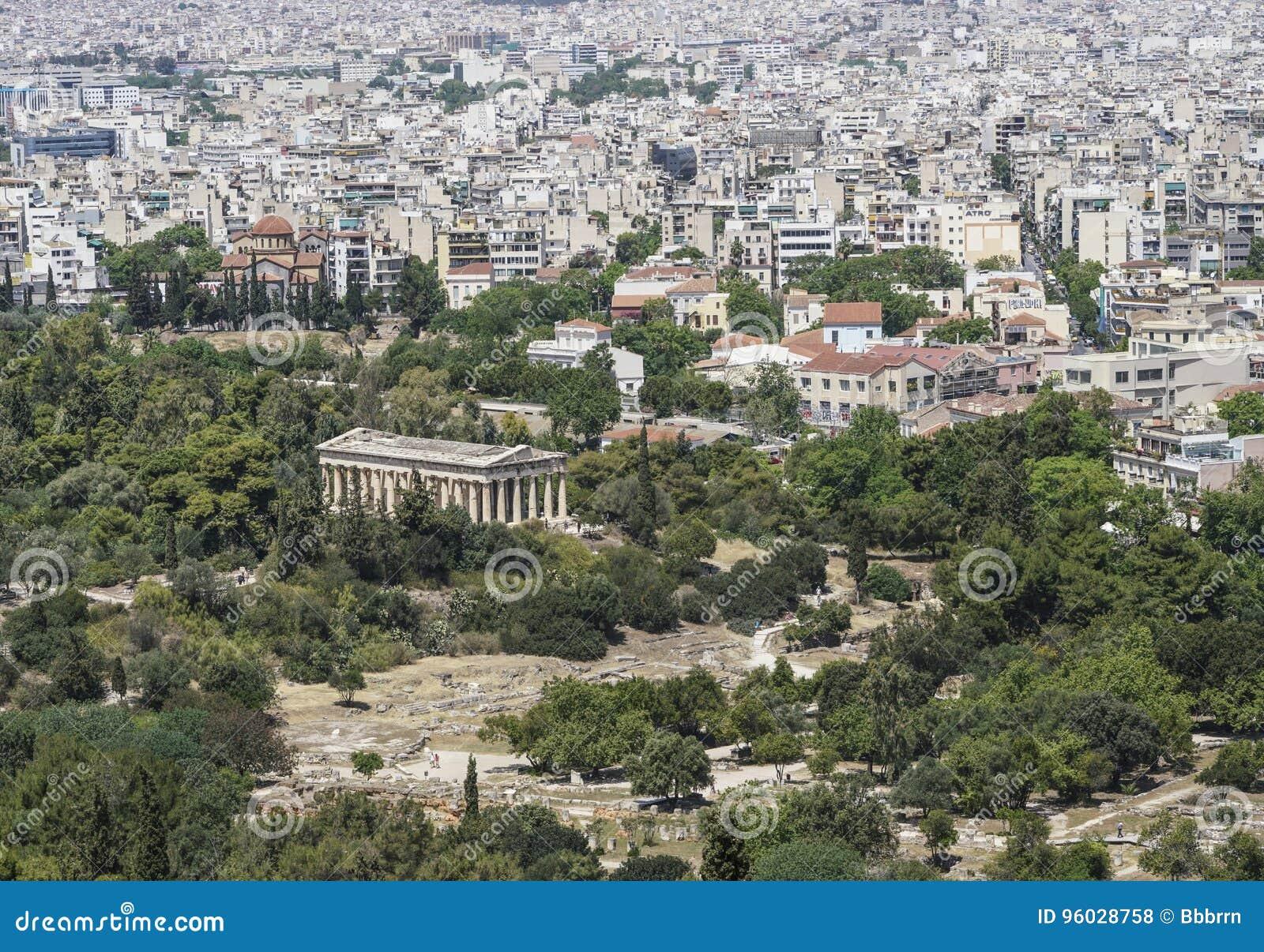 Panorama Ateny z widokiem świątynia Hermes w Grecja i agora