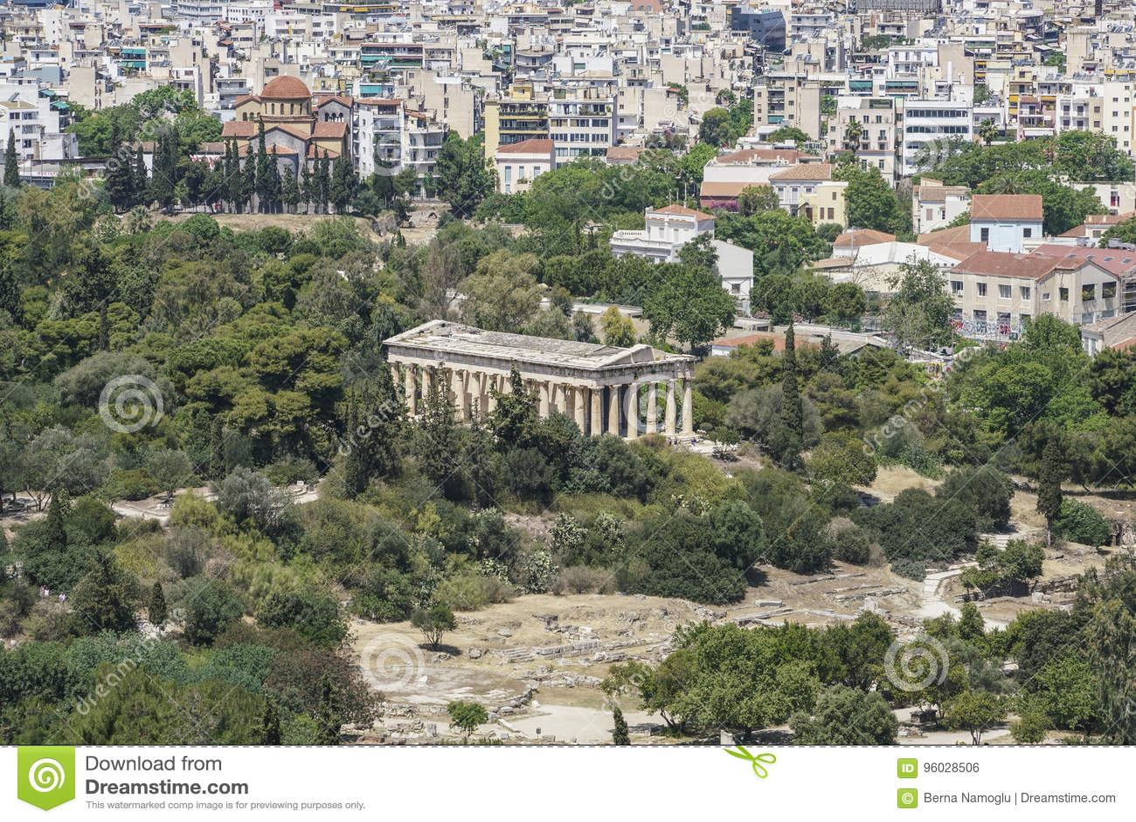 Panorama Ateny z widokiem agora i świątynia Hermes w Grecja