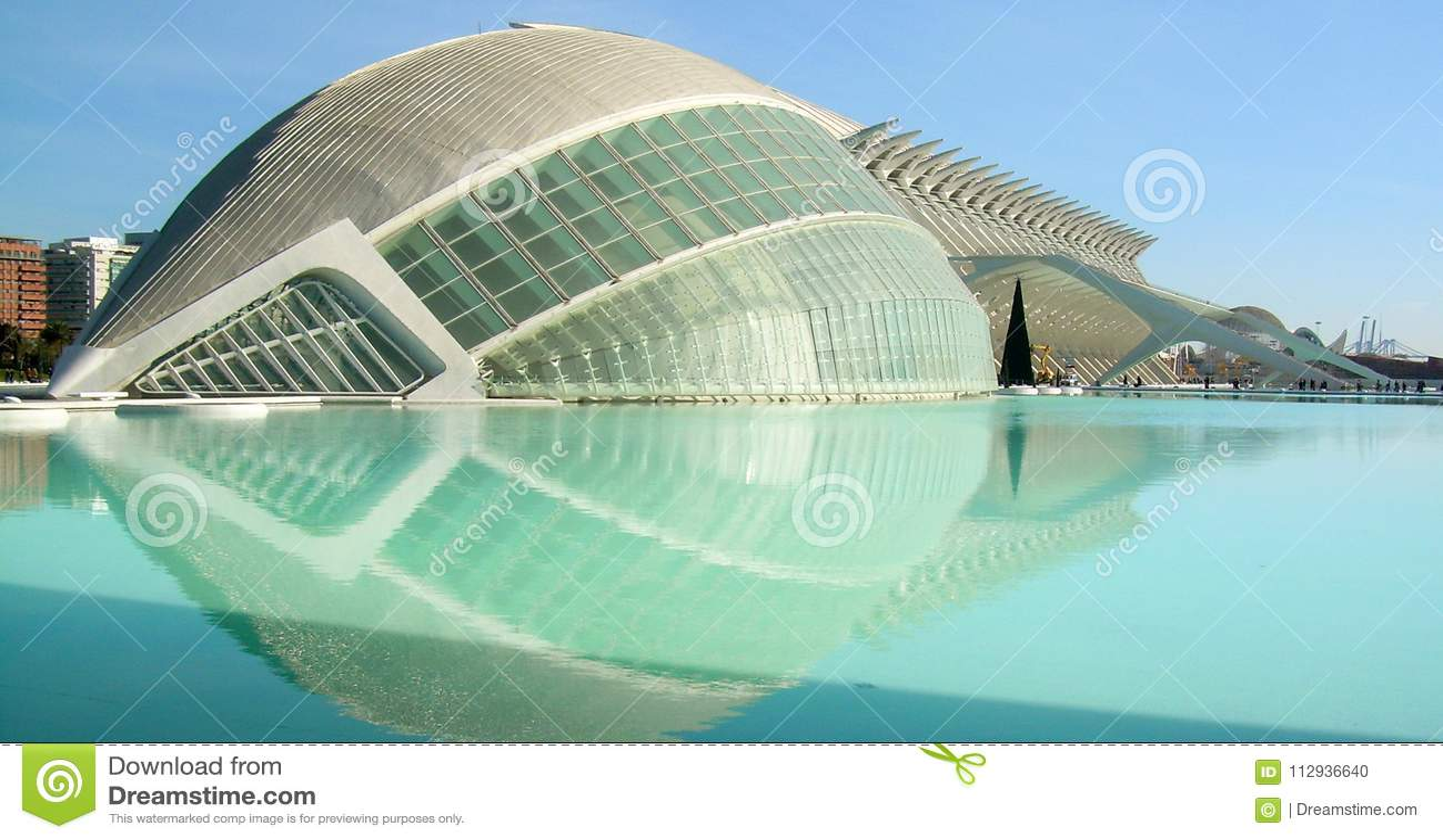 Panorama- av byggnader i staden av konsterna av vetenskap