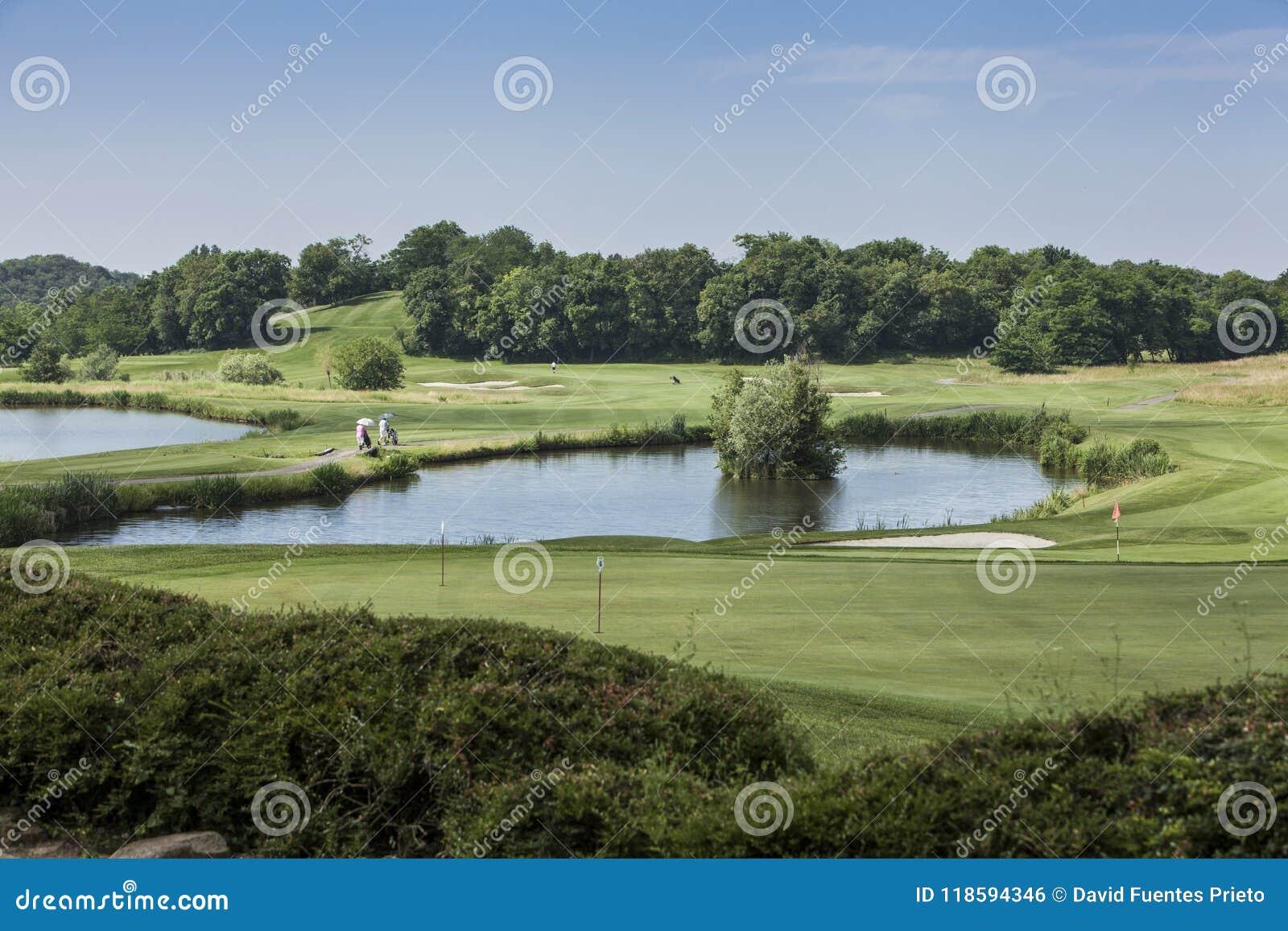 Panorama- av en golfbana