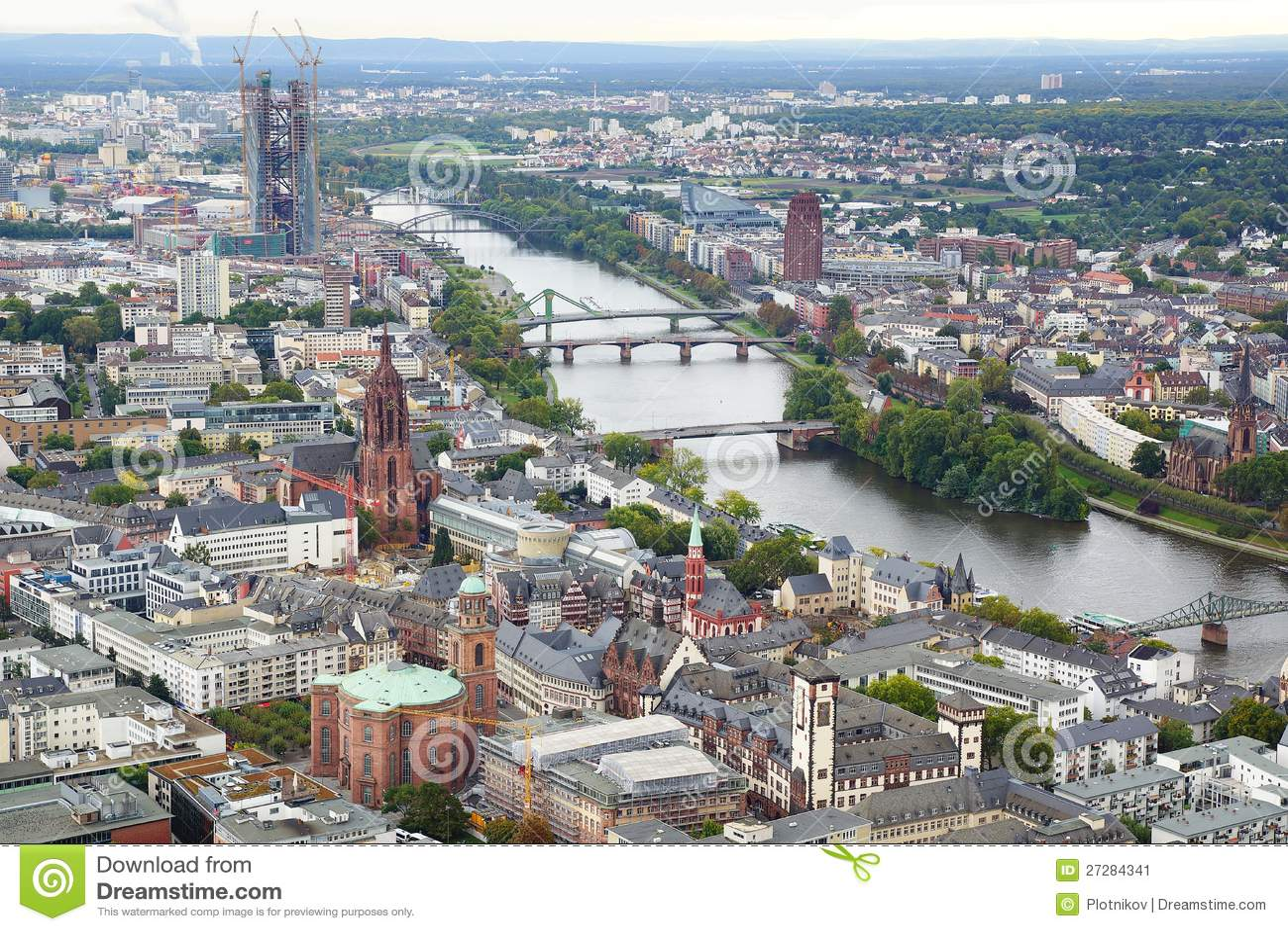 Panorama av Frankfurt am Main, Tyskland.