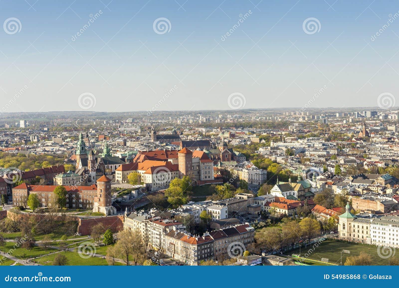 Panorama av härliga Krakow, tidigare huvudstad av Polen, Eur