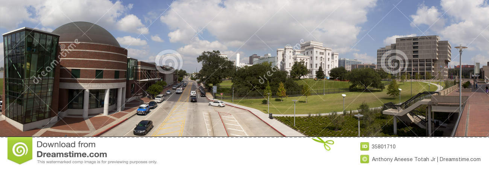 Panorama- av i stadens centrum Baton Rouge, Louisiana
