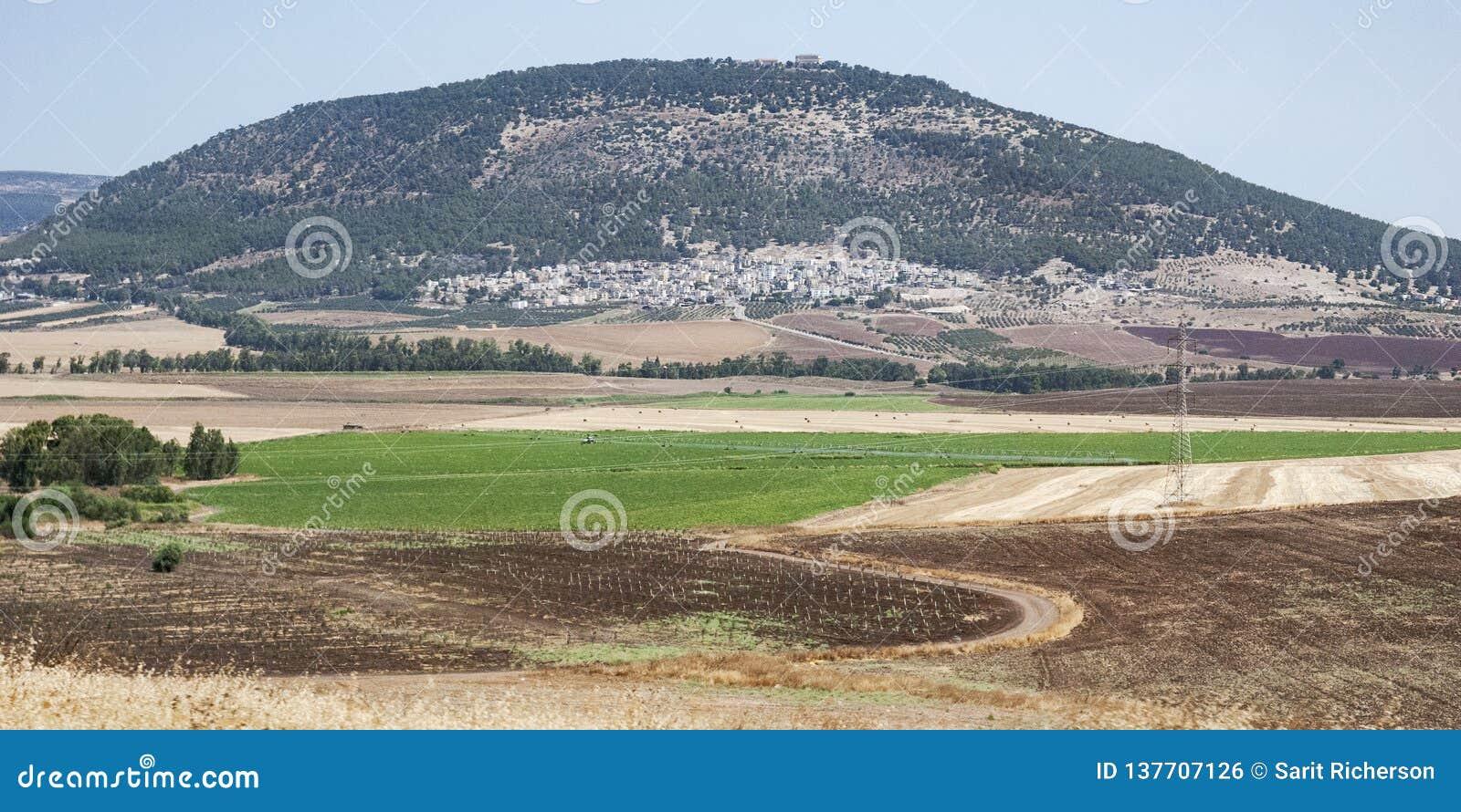 Panorama av monteringen Tabor i nordliga Israel