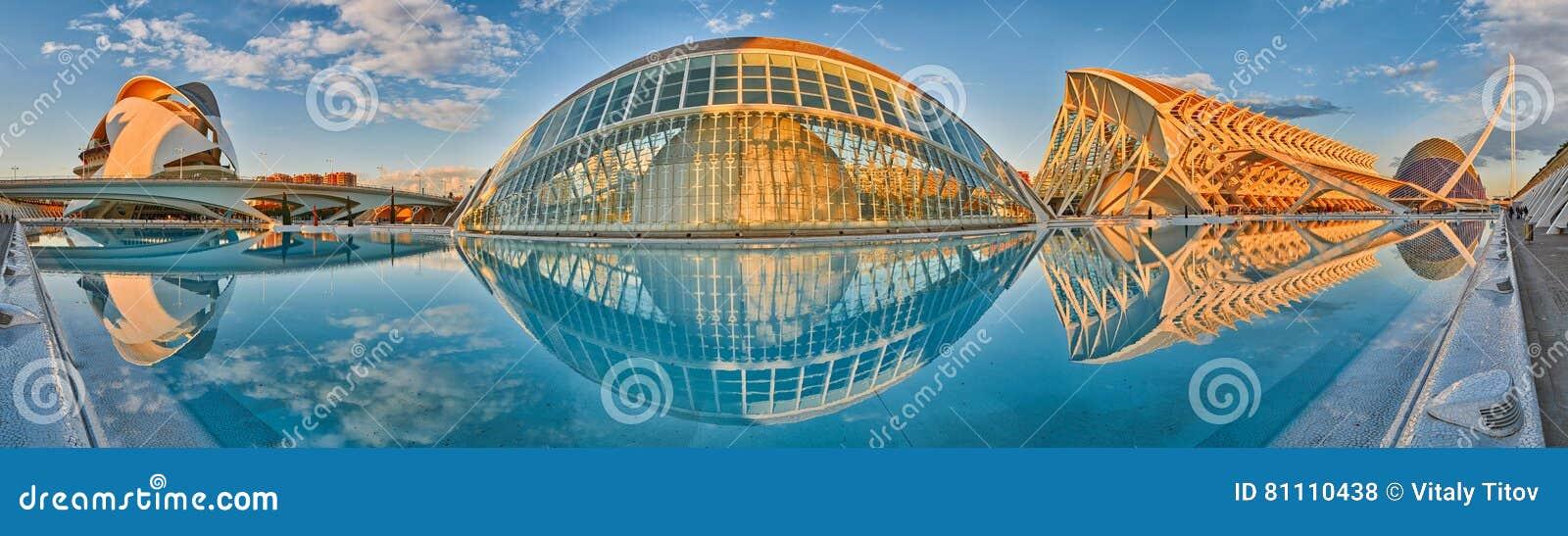 Panorama av staden av konster & vetenskaper som är komplexa i Valencia