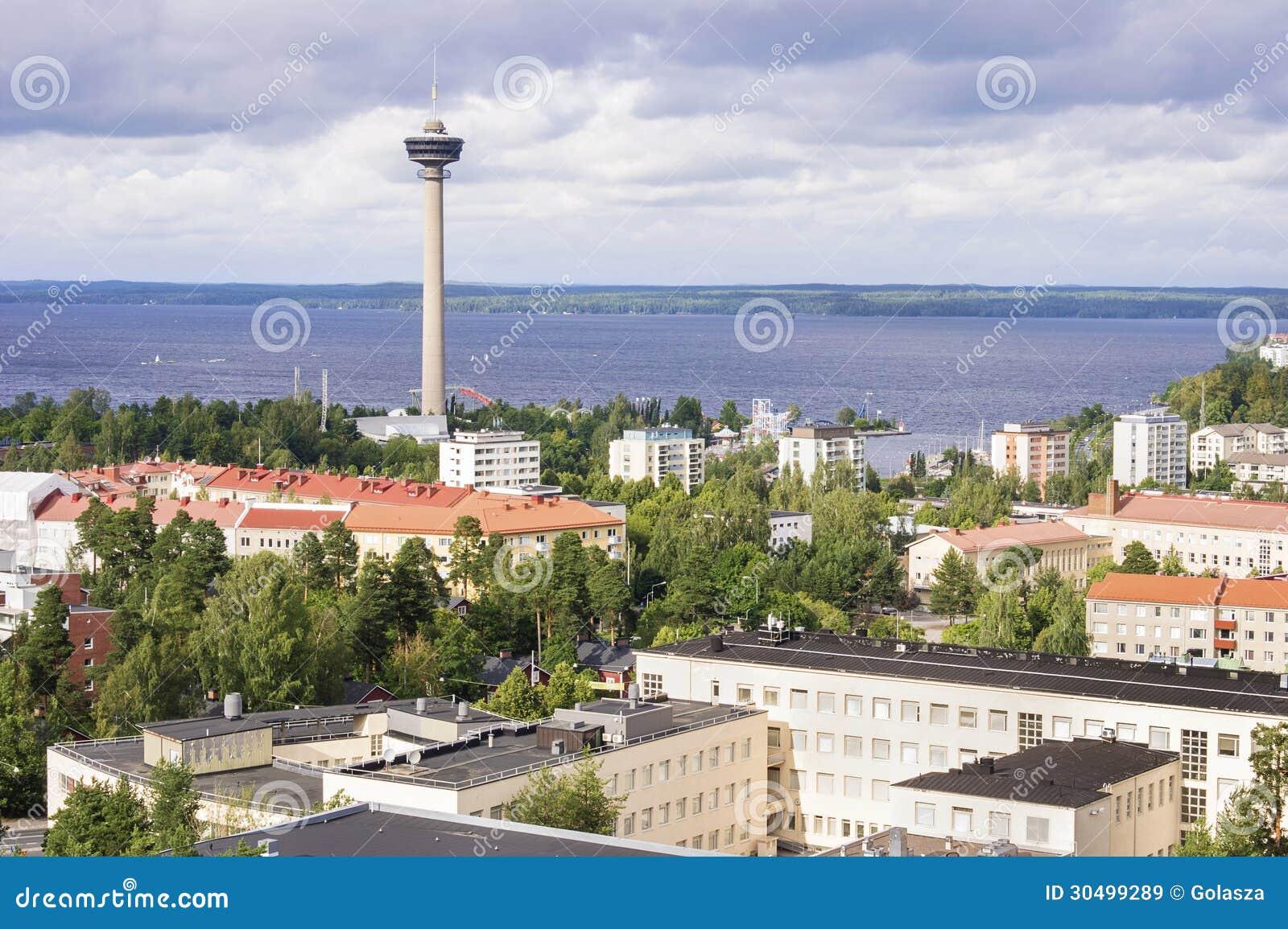 Panorama av Tammerfors, Finland