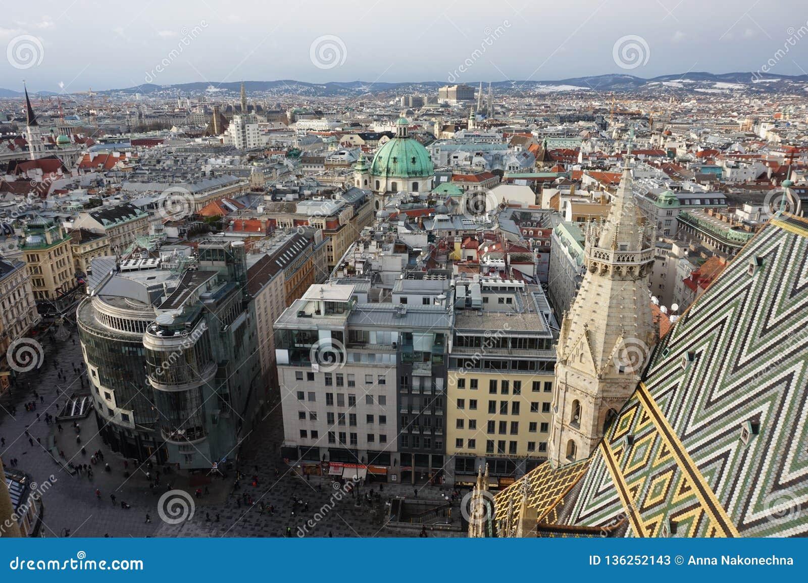 Panorama av vintern Wien från tornet av domkyrkan för St Stephen's _