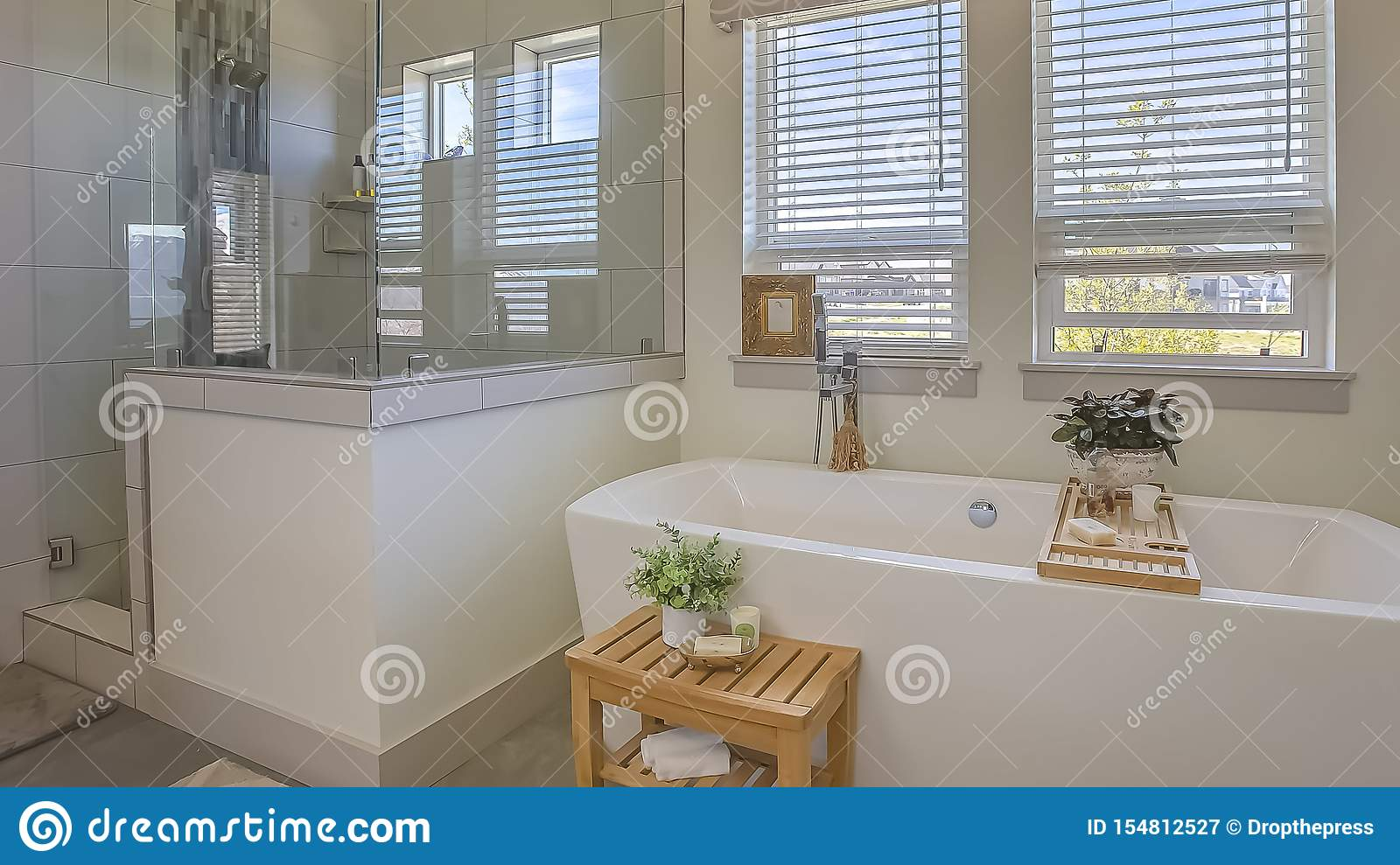 Panorama Bathtub And Shower Stall In Front Of Windows With Valance And Blinds Stock Image Image Of Panorama Architecture 154812527