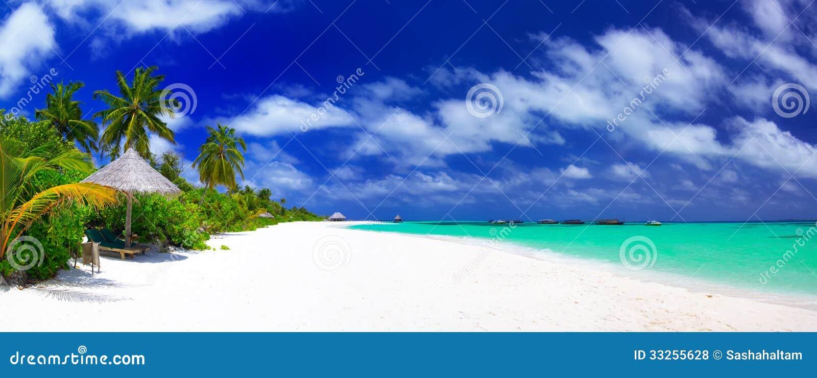 Panorama of beautiful beach on Maldives