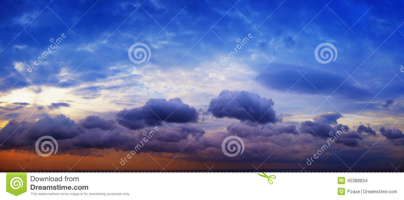 Panorama Of Beautiful Cloudy Sky With Sunshine Over The ...