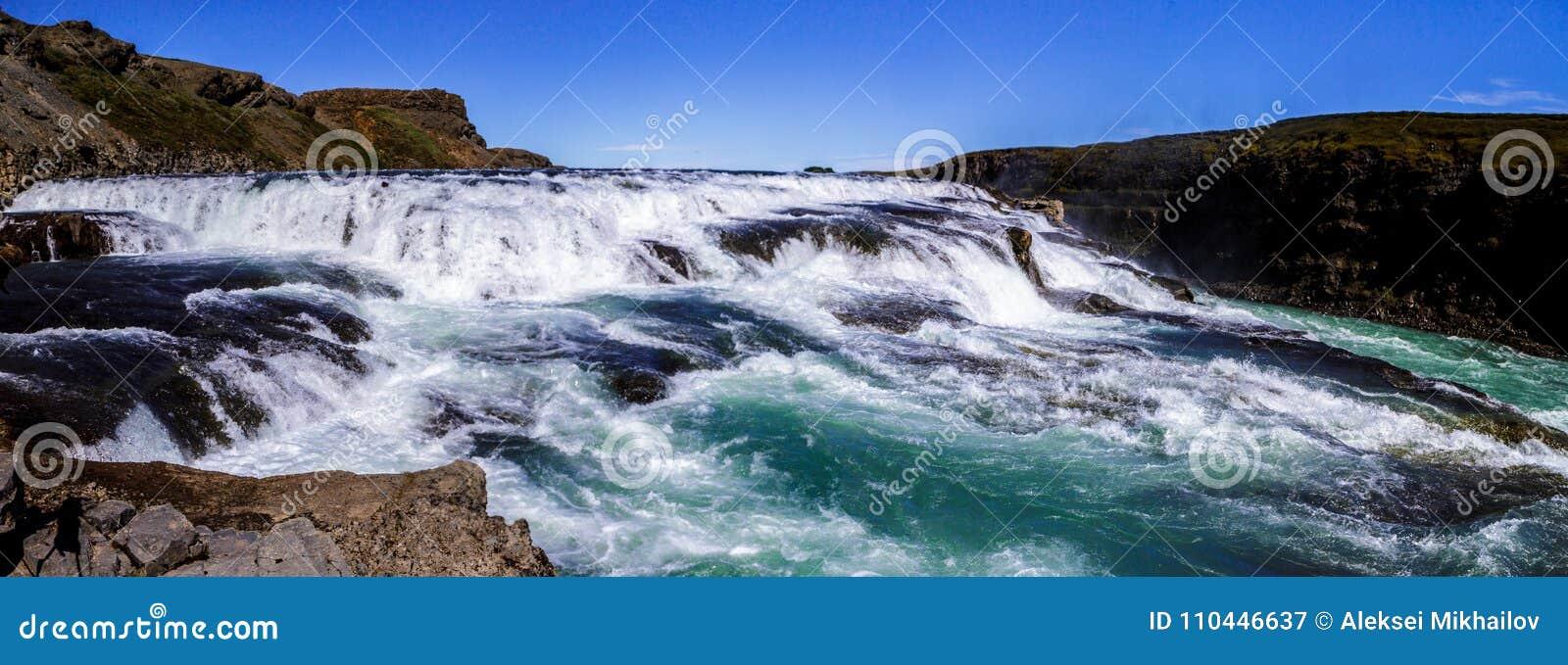 Panorama of the beautiful Gullfoss waterfall in Iceland 11.06,2017