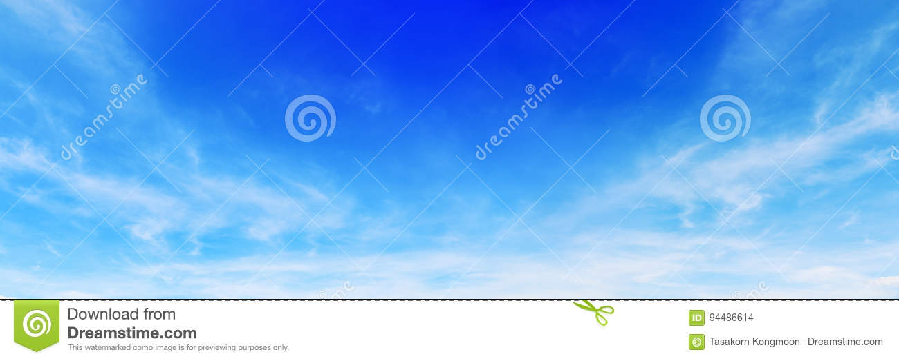 panorama of beautiful soft white clouds on blue sky for background and design