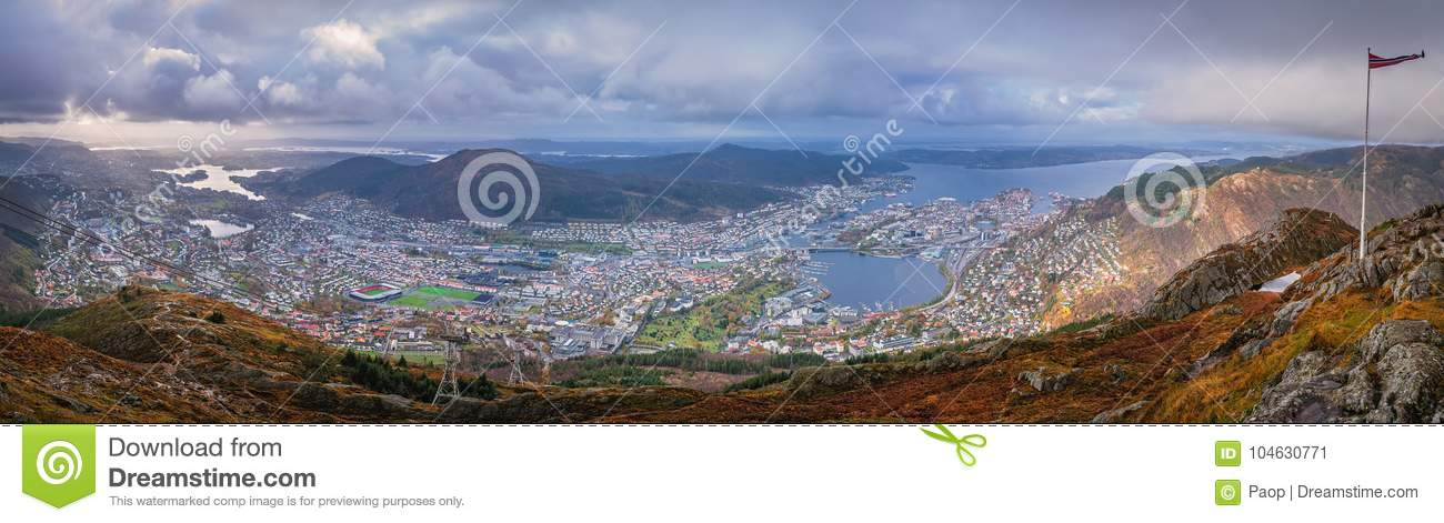 Panorama of Bergen town seen from above