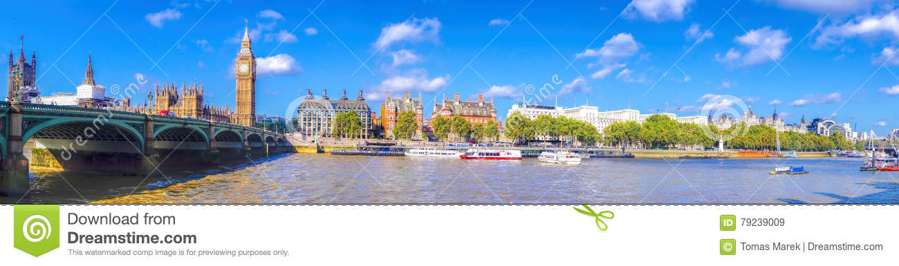 Panorama of Big Ben with bridge in London, England, UK