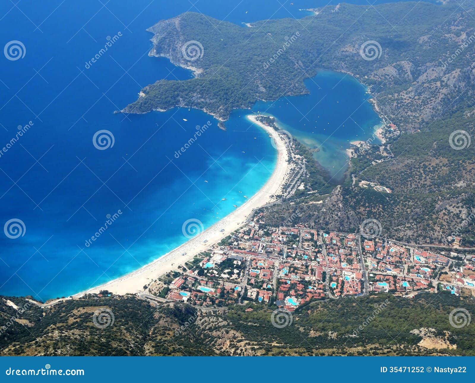 Panorama Of Blue Lagoon And Beach Oludeniz Turkey Stock