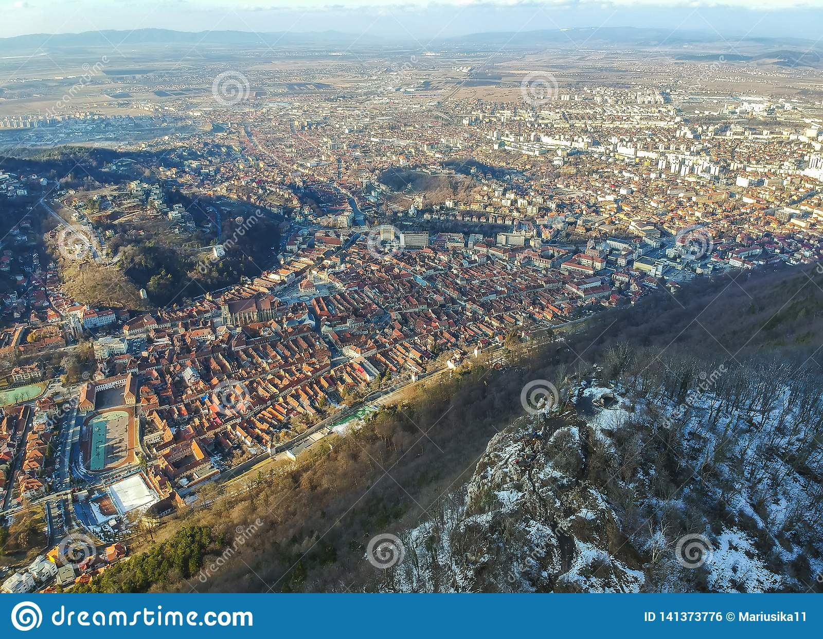 Panorama of Brasov City, Romania, aerial view