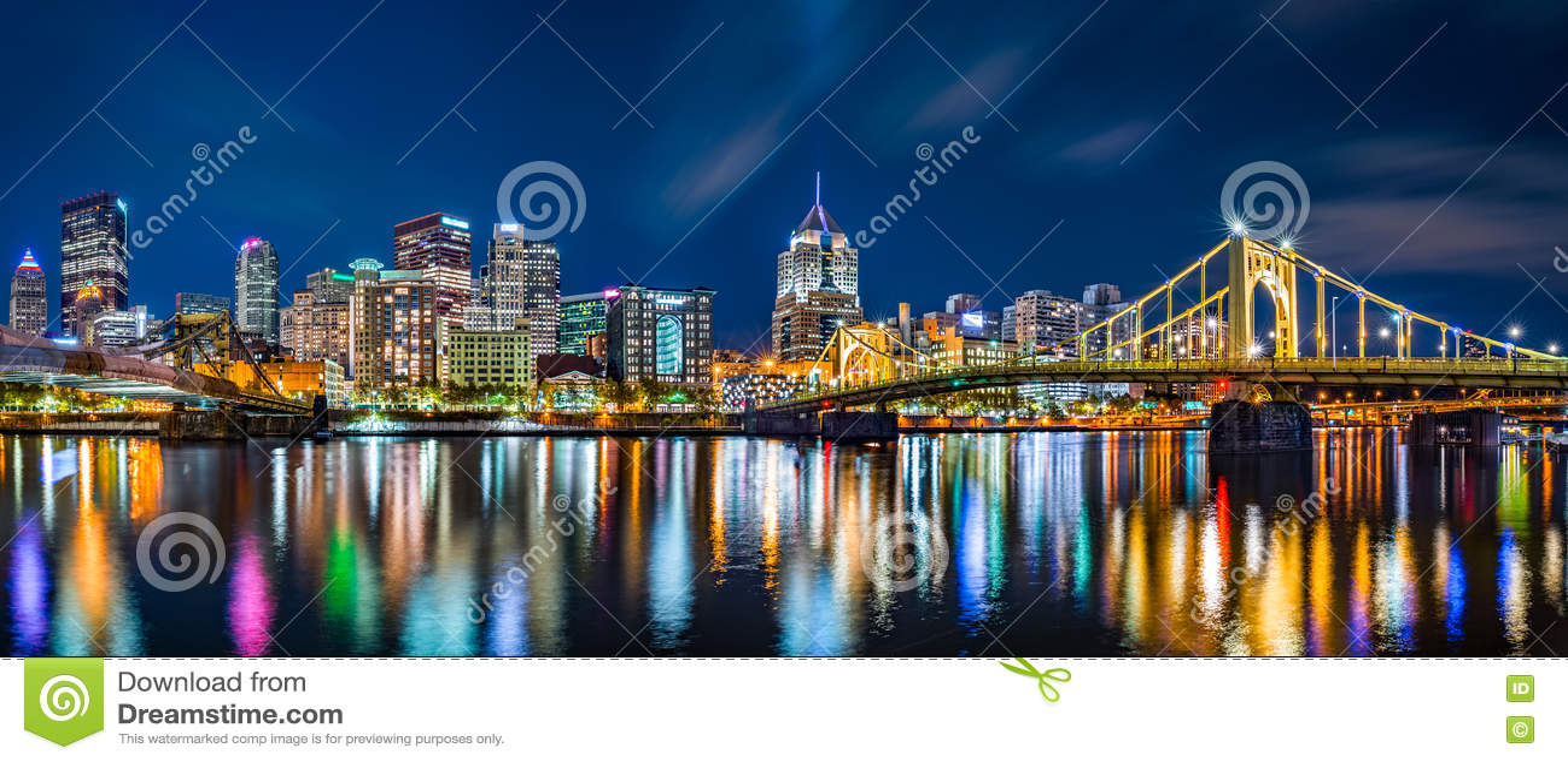 Panorama céntrico del horizonte de Pittsburgh