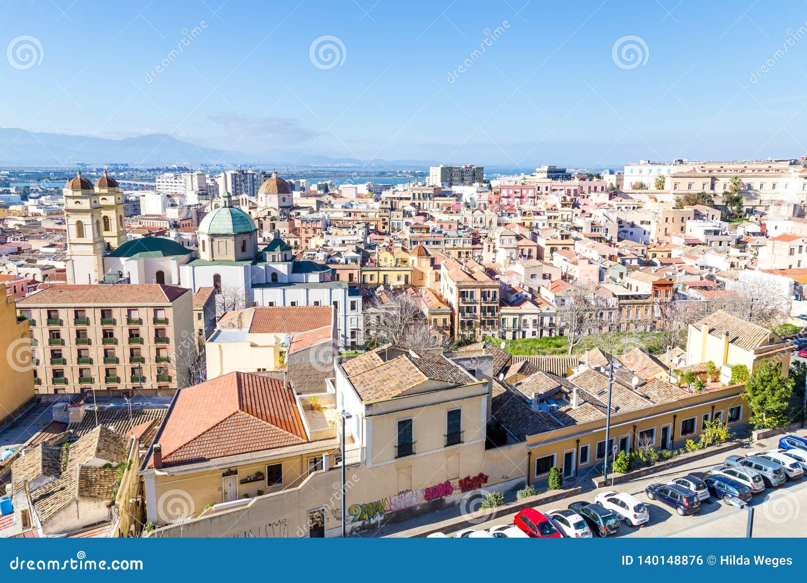 Panorama Cagliari, Sardinia wyspa, Włochy