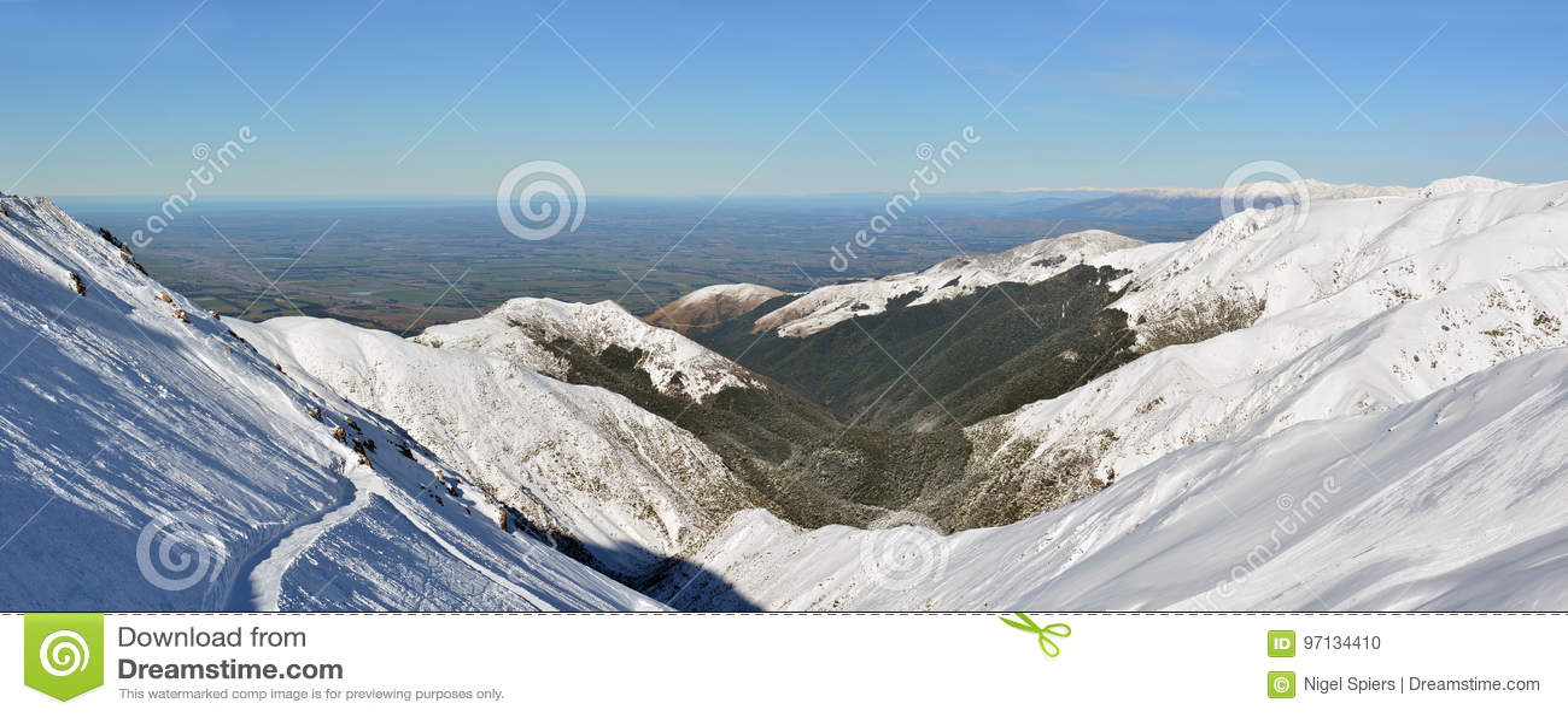 Panorama Canterbury równiny od góry Hutt narty pola,