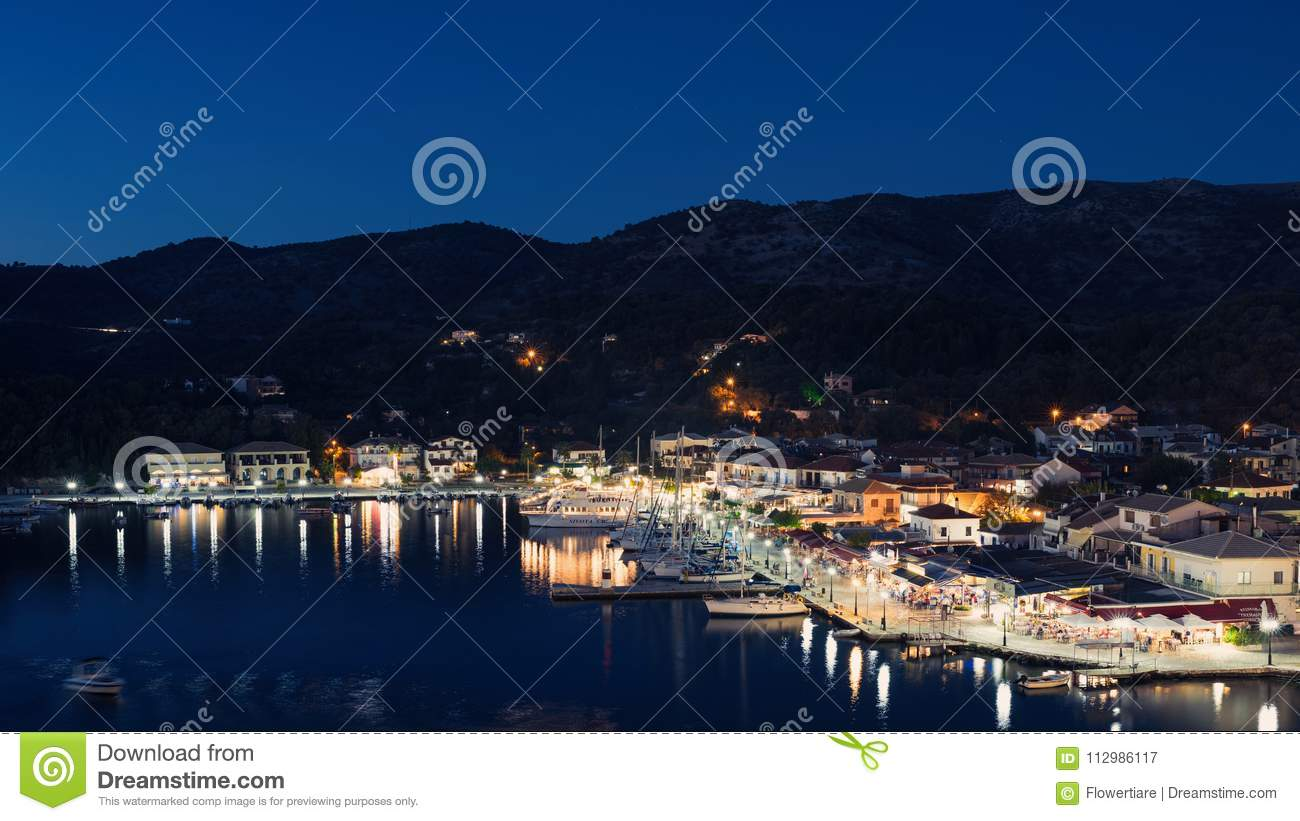 Panorama of the center of the town of Sivota in the Greece.
