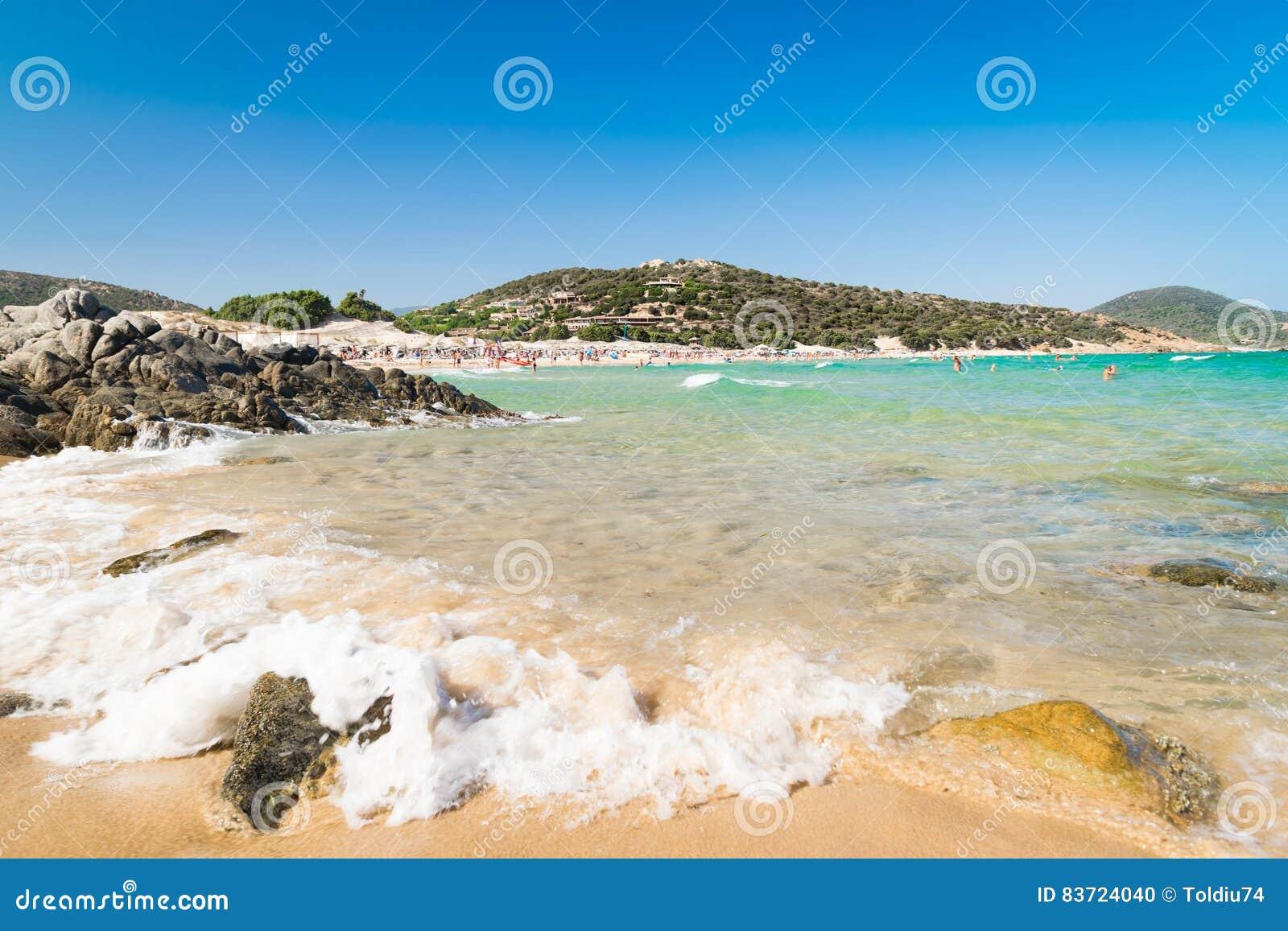 Panorama Of Chia Coast, Sardinia, Italy. Stock Photo