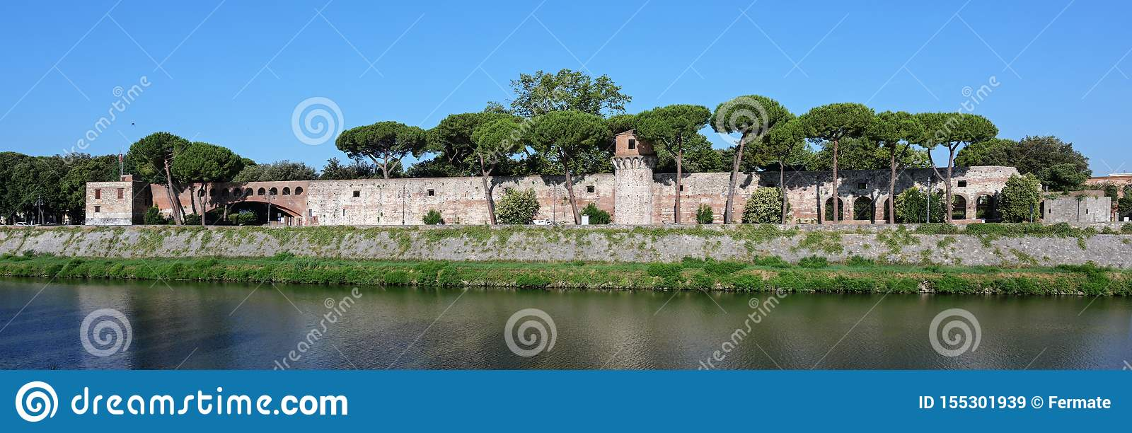 Panorama of the Cittadella Nuova New Citadel, now called Giardino Scotto Scotto`s Garden an old fortress in Pisa at the river