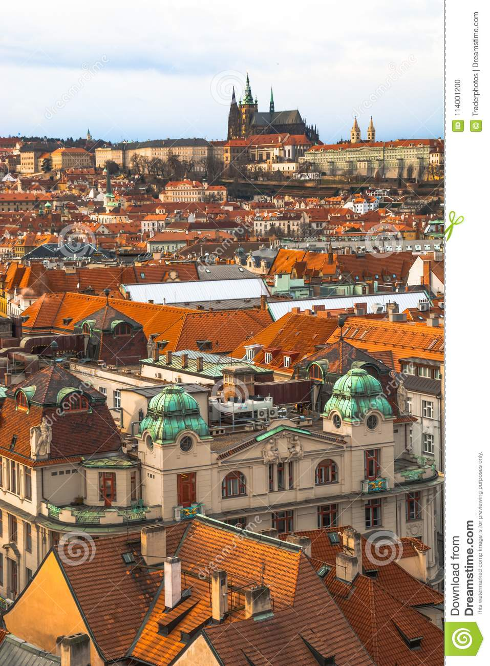 Panorama of the old part of the city of Prague.