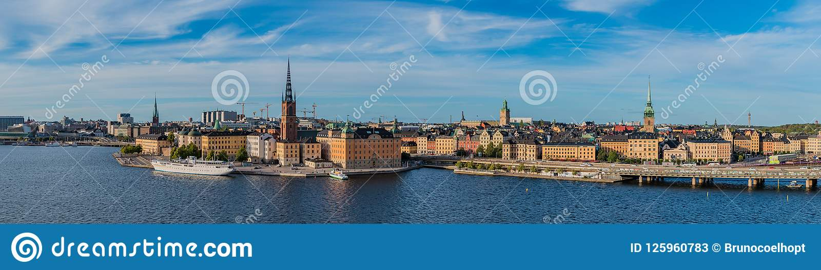 Stockholm Panorama IV editorial stock photo  Image of water