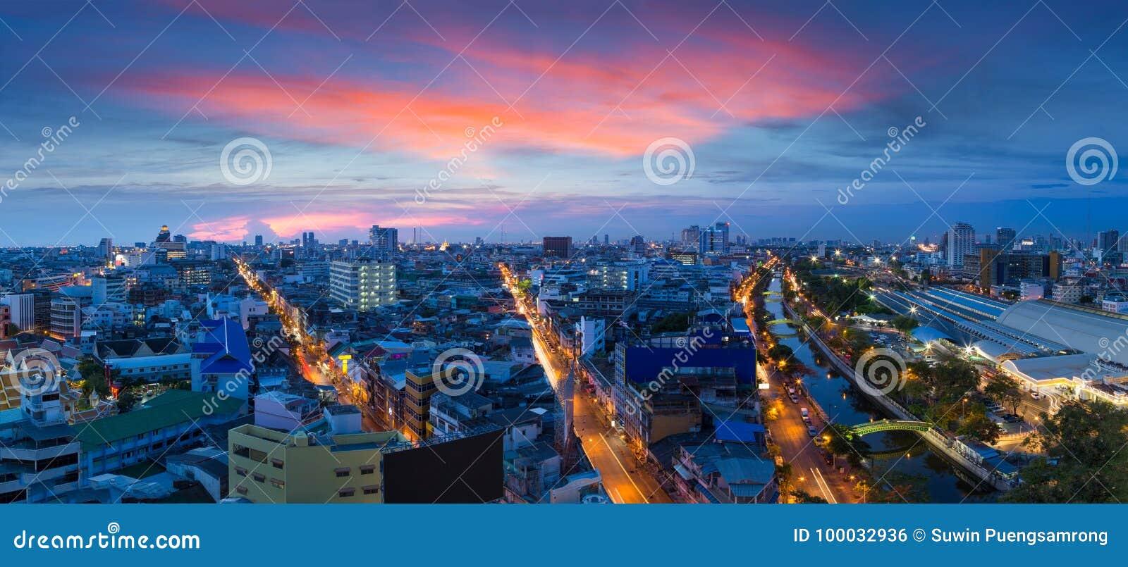 Panorama city at twilight, Bangkok Thailand