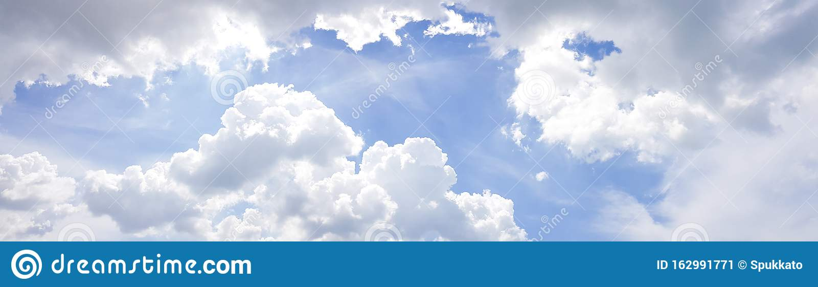 Panorama of clear blue sky with white cloud background. Clearing day and Good weather in the morning