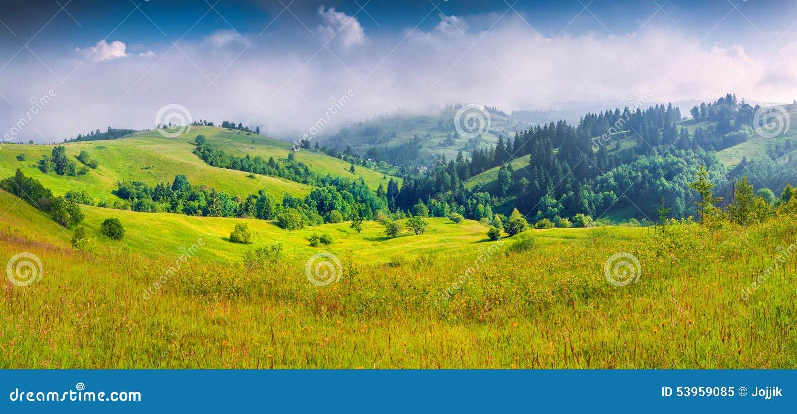 Panorama coloré d été de village de montagne brumeux