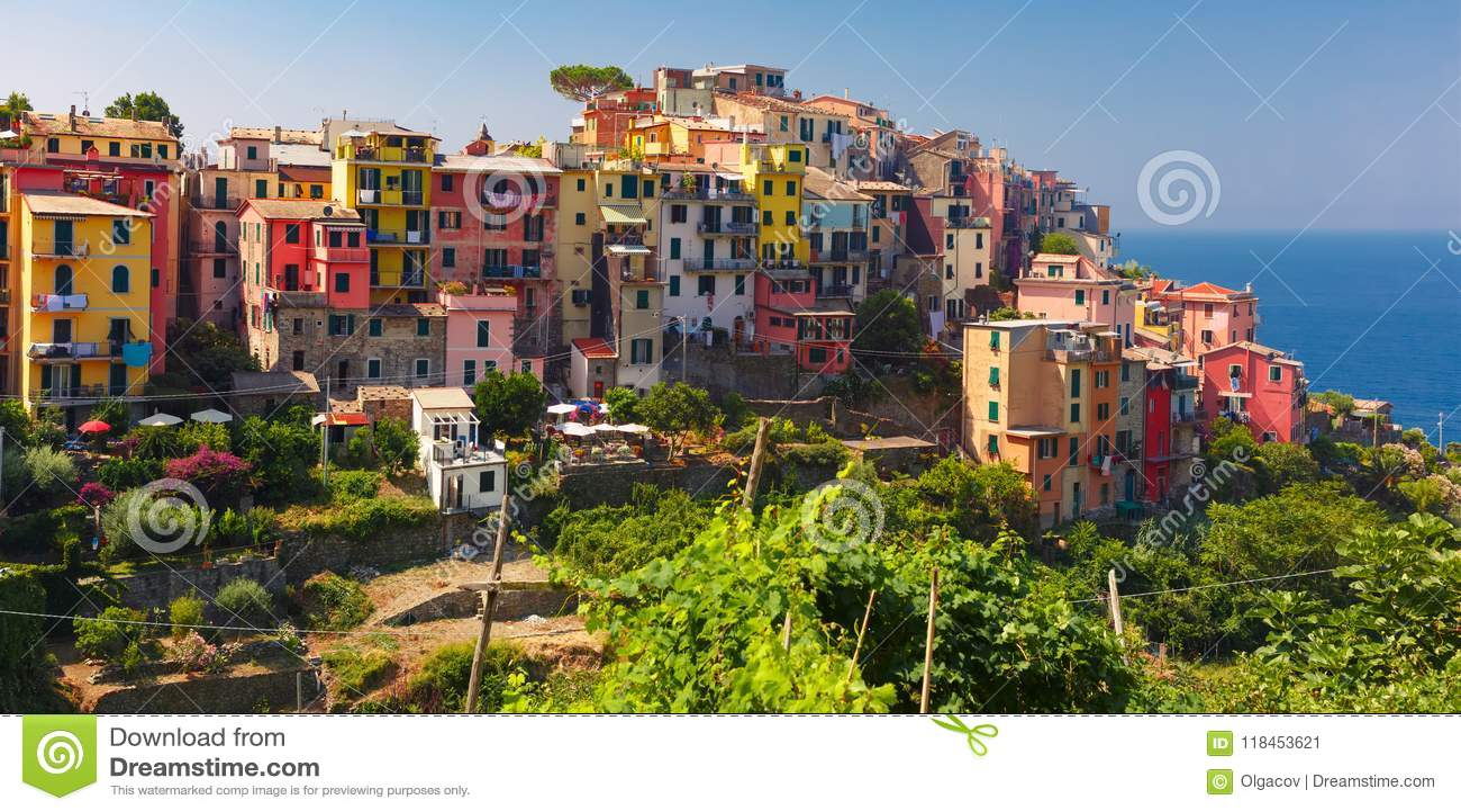 Panorama Of Corniglia Cinque Terre Liguria Italy Stock Image