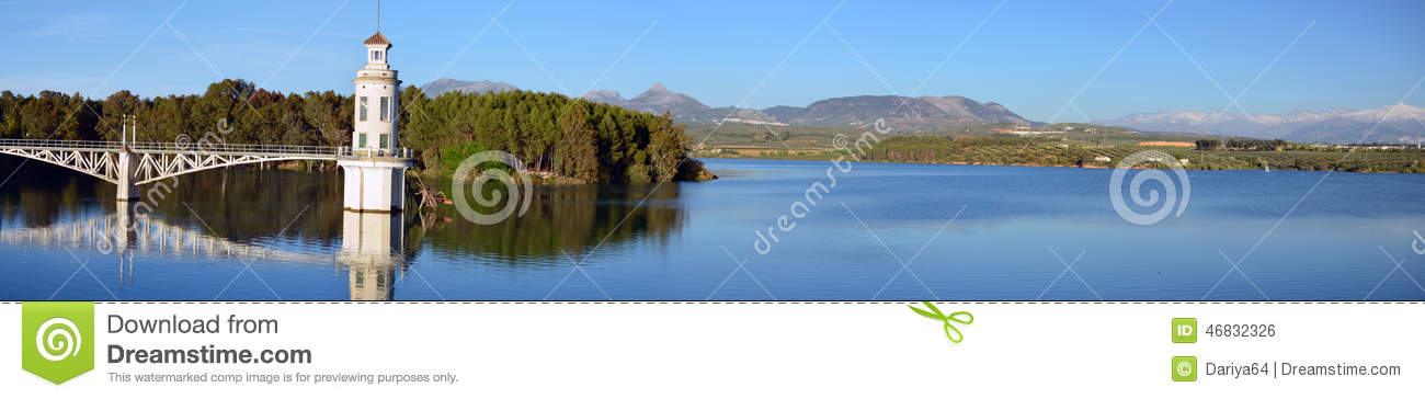 Panorama of Cubillas reservoir in the ptovance of Granada in And