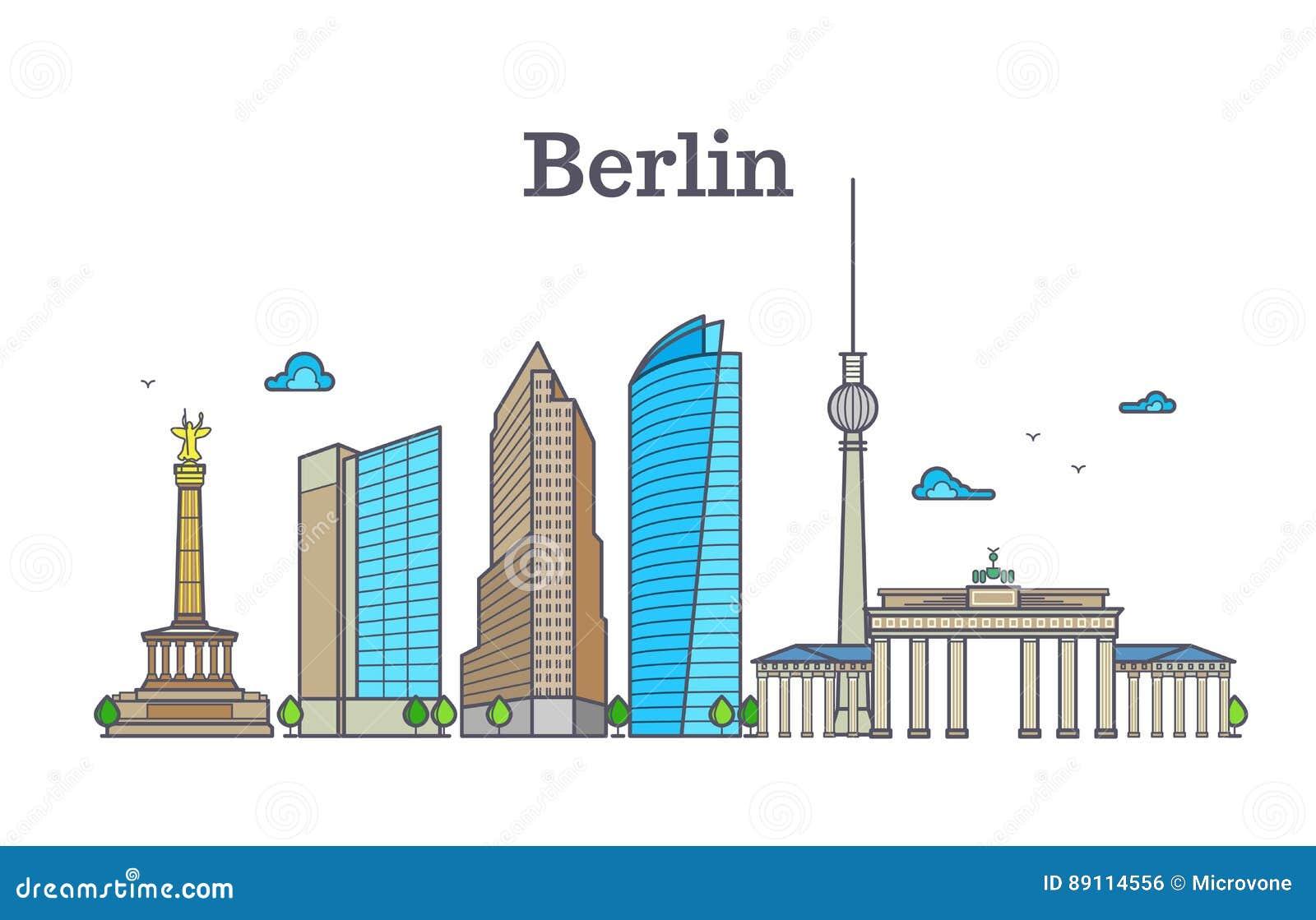 Panorama d horizon de silhouette de Berlin, illustration de vecteur de paysage de ville