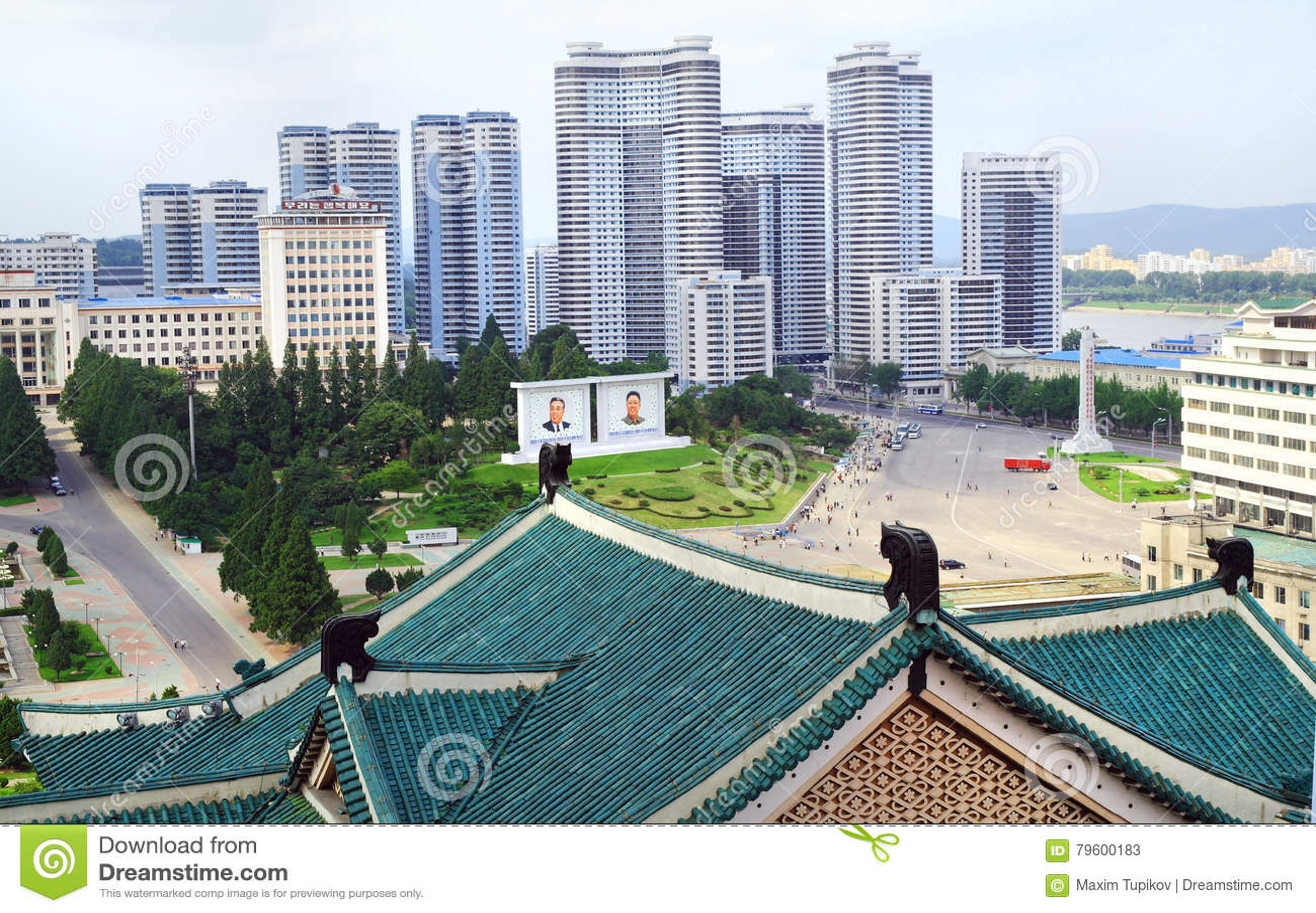 Panorama da arquitetura da cidade do Pyongyang