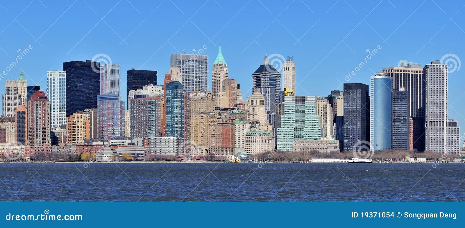 Panorama da baixa de New York City Manhattan