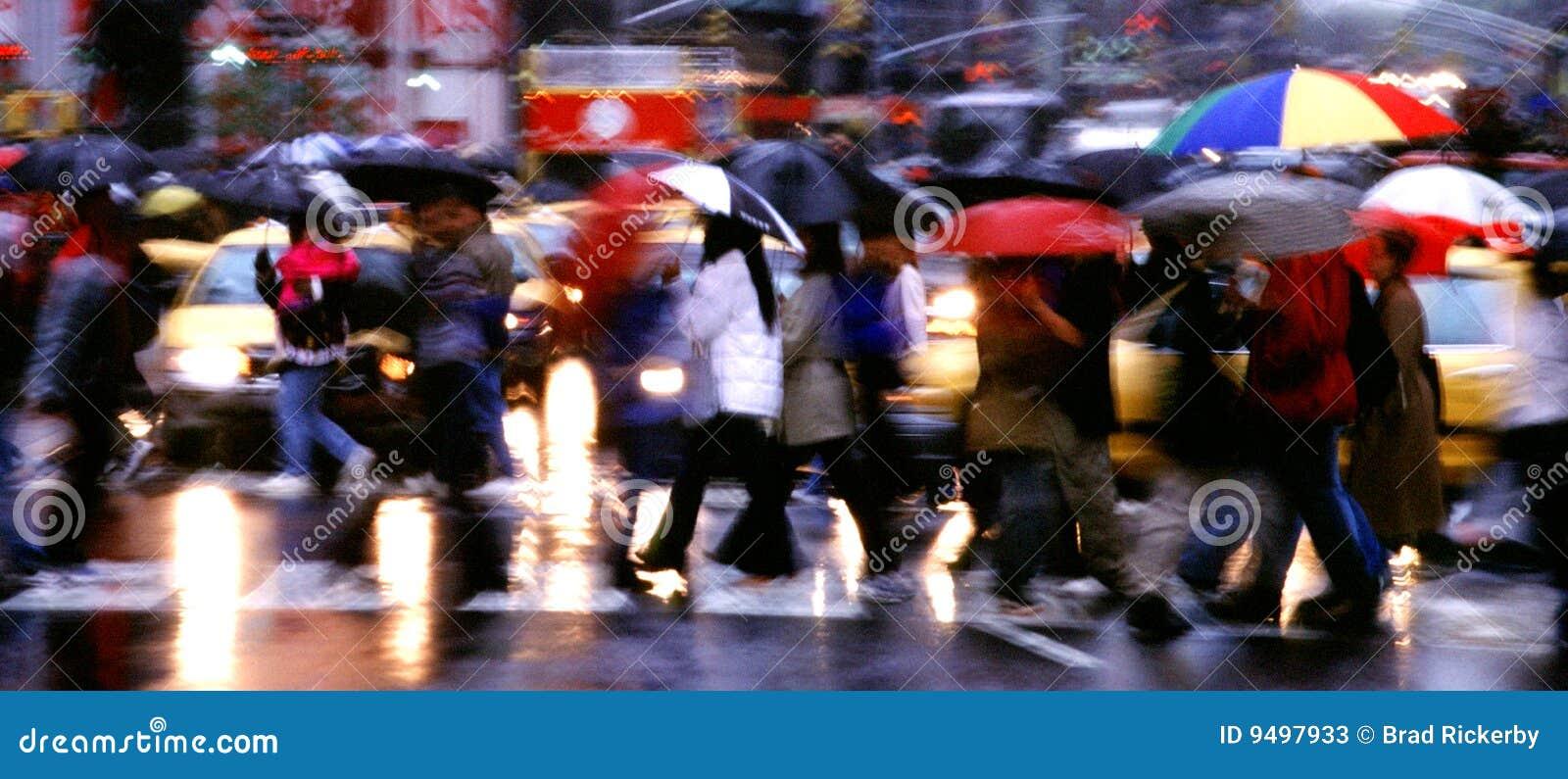 Panorama da chuva do Times Square