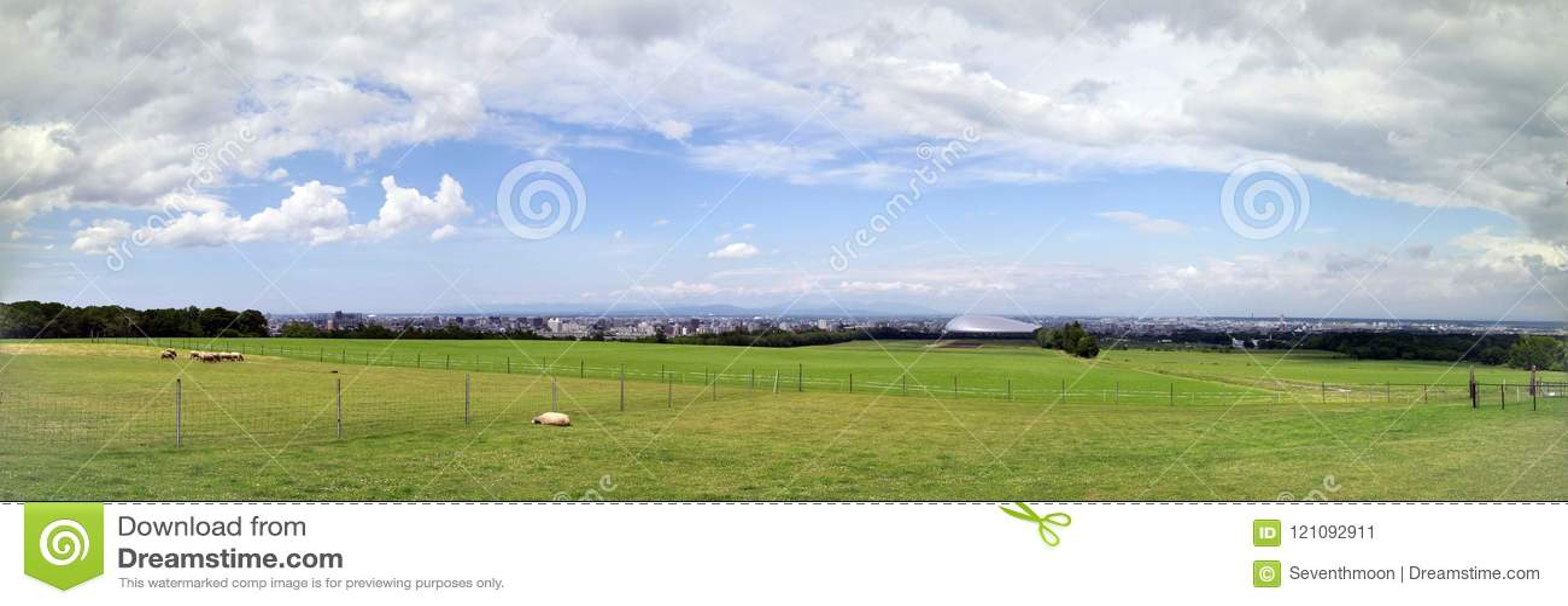 Panorama da exploração agrícola dos carneiros, Sapporo
