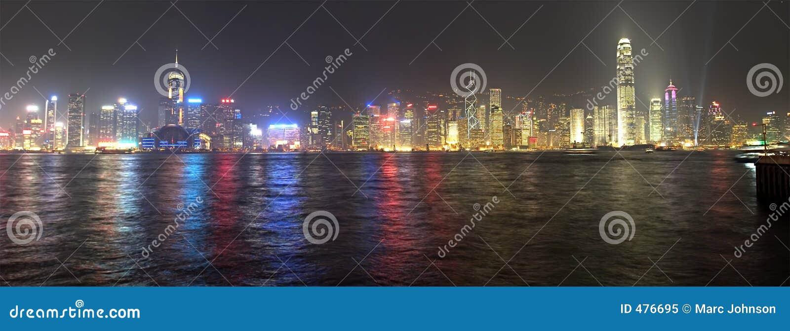 Panorama da noite de Hong Kong