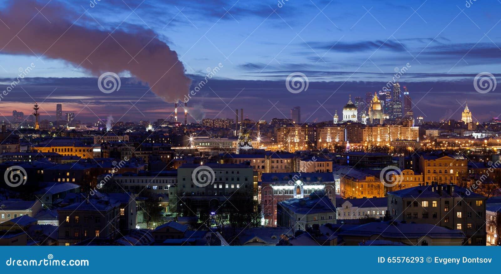 Panorama da noite de Moscou