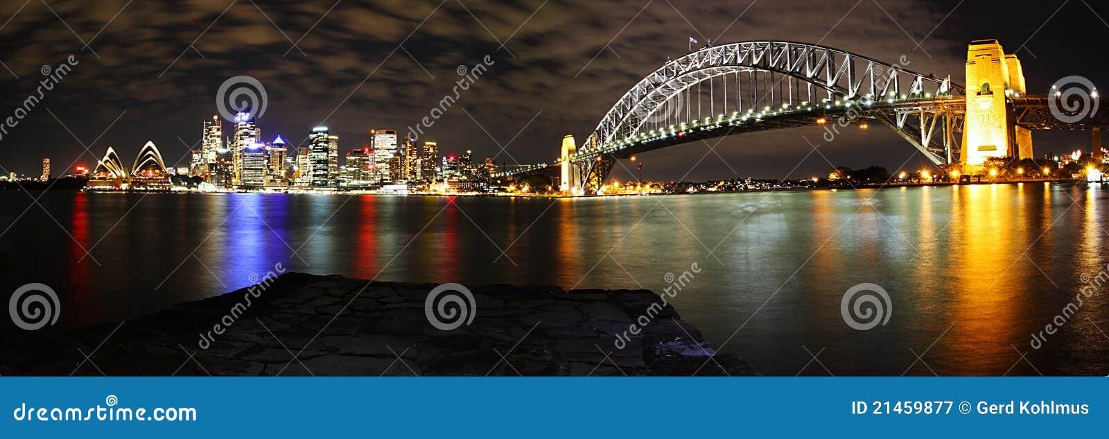 Panorama da skyline de Sydney na noite